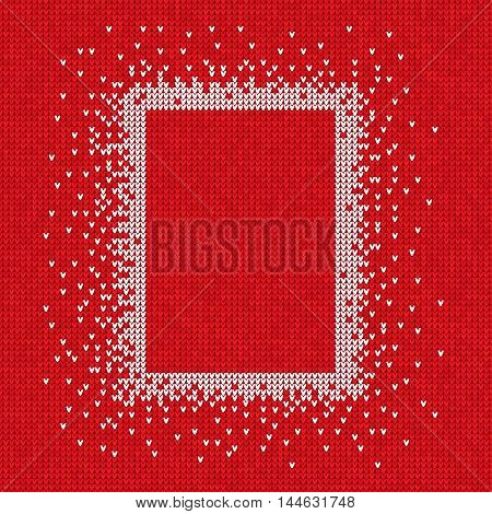 Vector illustration Handmade knitted seamless abstract background red pattern with white rectangle frame