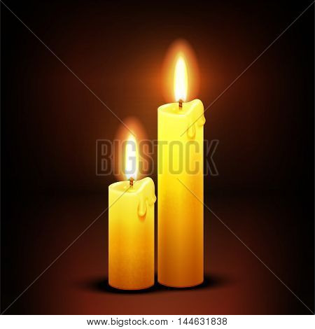 Vector christian background with burning dinner candles. Candlelight flame illustration