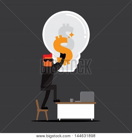 thieve in black suit wear sunglasses on working table make money with stealing idea