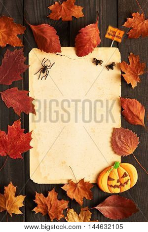 Blank old paper sheet and gingerbread cookie over dark wooden background with autumn leaves. Halloween invitation.