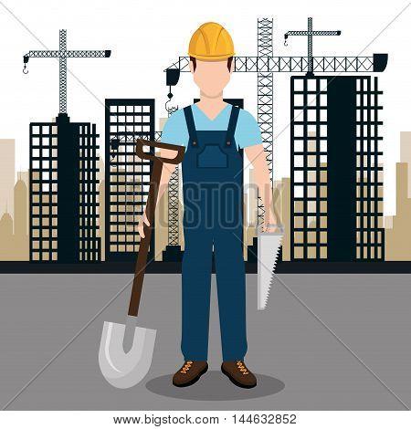 city under construction cityscape background icon vector illustration design
