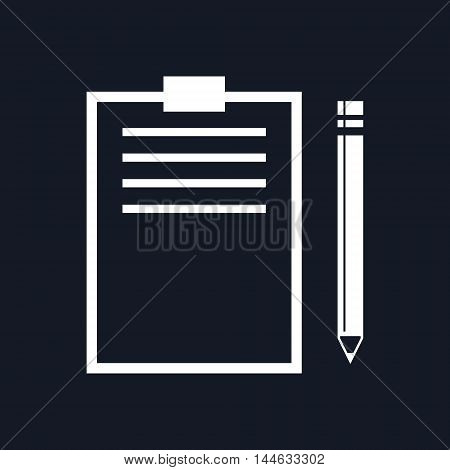 Clipboard with a Pencil Isolated on Black Background, Vector Illustration
