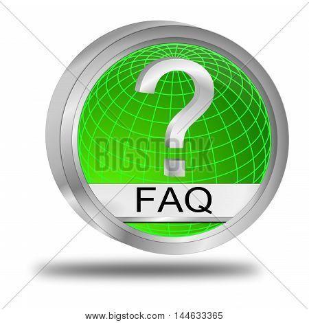 glossy green FAQ Button - 3D illustration