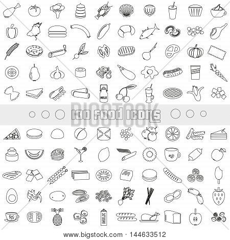 Hundred Various Food And Drink Outline Icons Big Set Eps10