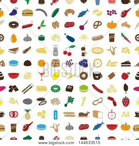 Hundred Various Food And Drink Color Icons Seamless Pattern Eps10
