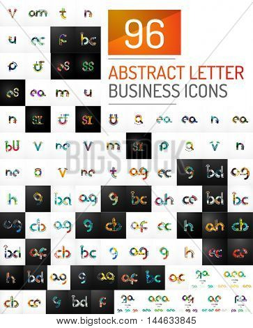 Mega collection of 96 vector initial letter logo icons. Modern abstract geometric minimal linear design