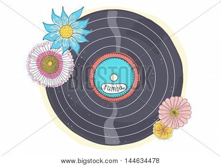 Doodle retro illustration of rumba vinyl record with flowers.