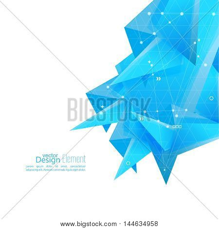 Abstract background with blue geometric shapes angled. Concept new technology and dynamic motion. Digital Data Visualization. vector