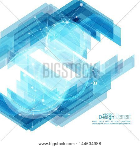 Abstract background with blue stripes corner. Concept new technology and dynamic motion. Digital Data Visualization.