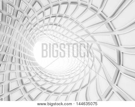 Bent White Tunnel Interior, 3D Render