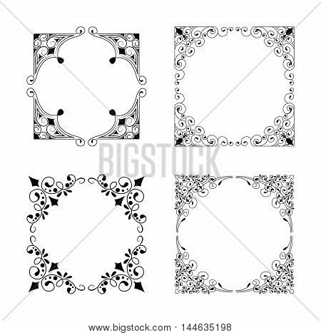 Vintage Style Square Frames Collection. Decorative Frame Set For Your Design For Any Holiday