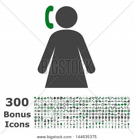 Calling Woman icon with 300 bonus icons. Glyph illustration style is flat iconic bicolor symbols, green and gray colors, white background.