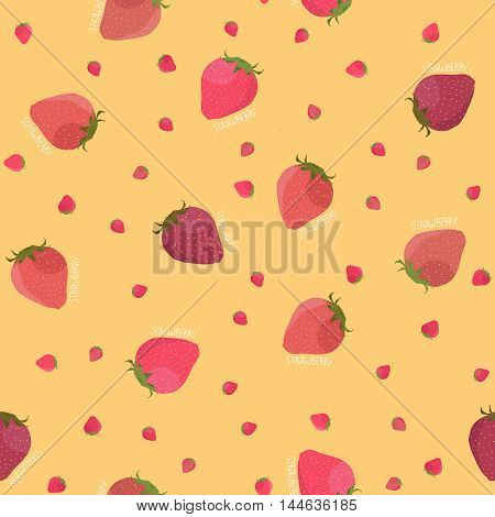 Abstract strawberry texture. Seamless pattern. Fruit background. Red and pink berries. Summer harvest endless backdrop. Dessert template. For wallpaper, pattern fills, web page background.