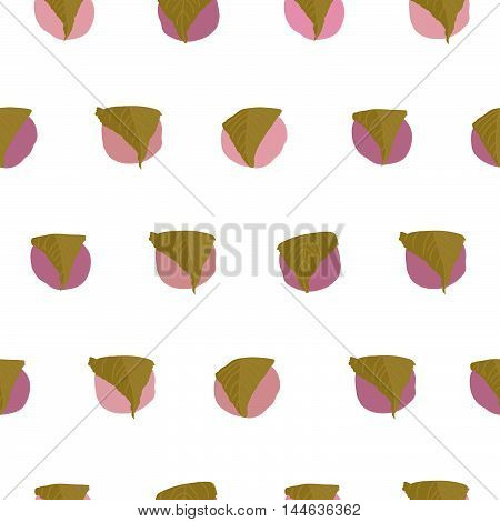 Sakura Mochi background. Seamless pattern. Asian cuisine. Hinamatsuri (Girl's Day) dish. Rice ball wrapped in a salty pickled cherry leaf. Endless dessert texture. Traditional japanese sweets.