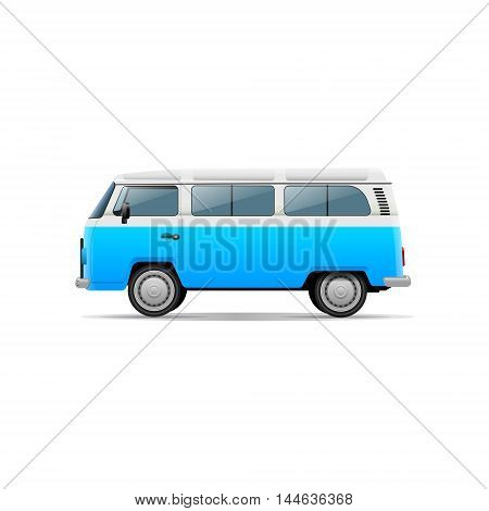 Retro and old van. Vector isolated illustration.