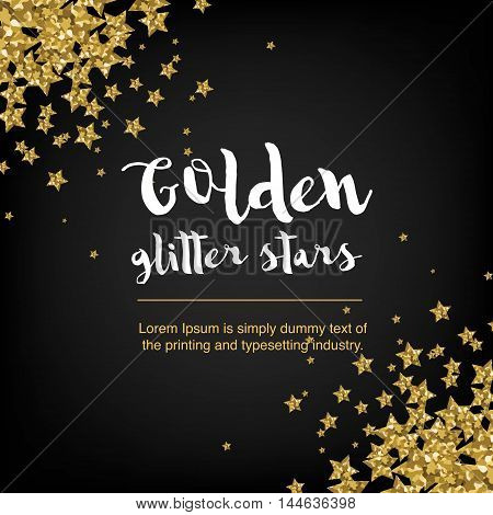 Golden glitter stars. Abstract background with stars and text.