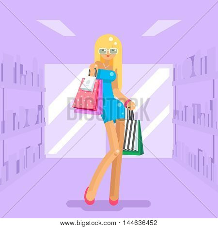 Girl shopping bag and package purchase flat design character vector illustration