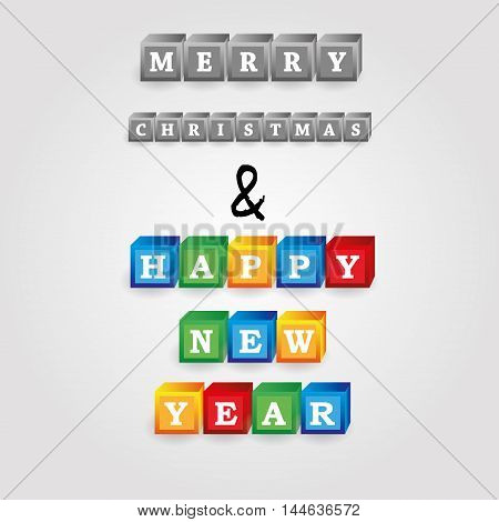 Merry Christmas And Happy New Year Message From Bricks With Numbers Eps10