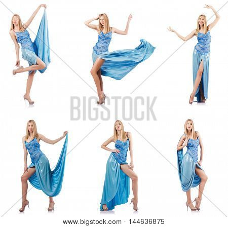 Attractive woman in blue dress on white