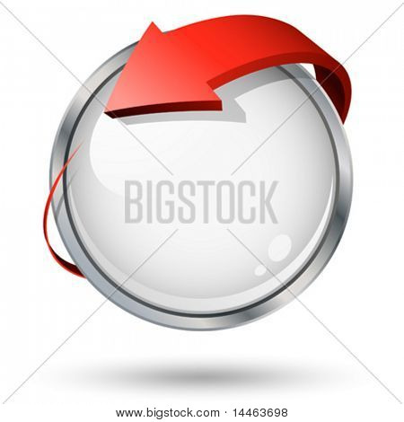 Round icon with 3D arrow