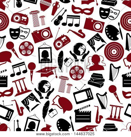 Culture And Art Theme Black And Red Simple Icons Seamless Pattern Eps10