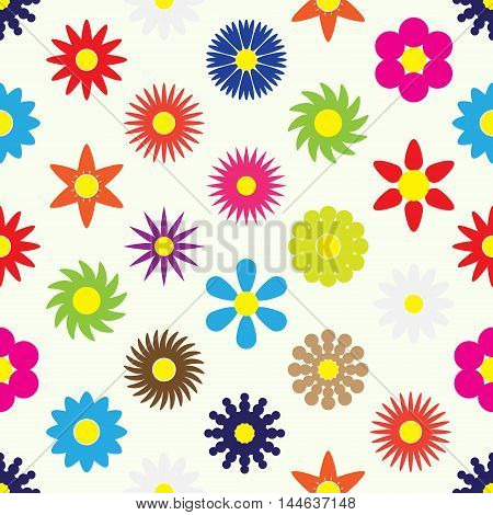 Colorful Simple Retro Small Flowers Set Seamless Pattern Eps10