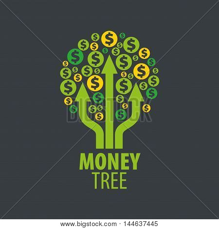 logo design template money tree. Vector illustration