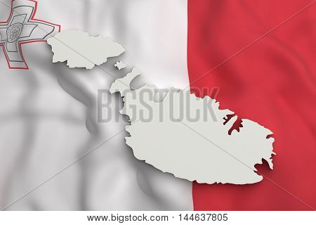 Silhouette Of Malt Map With Flag