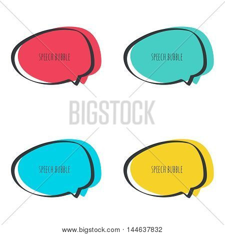Set hand drawn speech bubble. Vector frame. Text box. Multicolor, red, blue green yellow