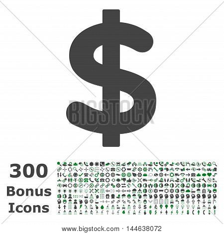 Dollar icon with 300 bonus icons. Glyph illustration style is flat iconic bicolor symbols, green and gray colors, white background.