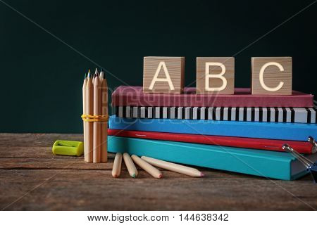 Colourful stationery and word ABC on the table