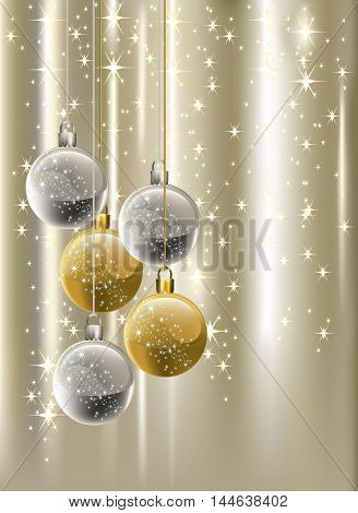 Bright silver graded Christmas background with silver, golden baubles and bright stars