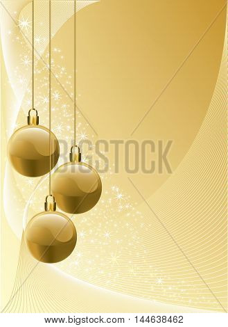 Bright gold graded Christmas background with golden baubles and bright stars