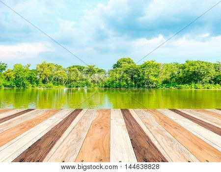 Empty Perspective Room With Lagoon At Forest And Blue Sky And Wooden Plank Floor,template Mock Up Fo
