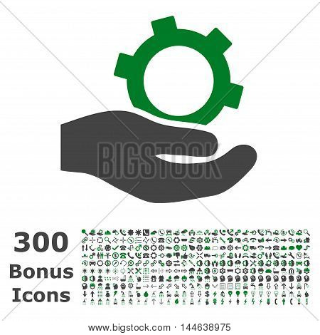 Engineering Service icon with 300 bonus icons. Glyph illustration style is flat iconic bicolor symbols, green and gray colors, white background.