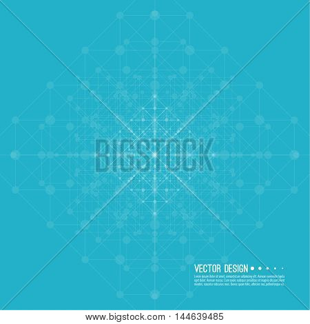 Virtual abstract blue background with particle, molecule structure. Wireframe Mesh figure. Regular geometric shapes. Digital Data Visualization. Vector Illustration. Connection dot and line