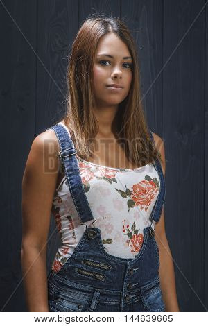 Teen Girl In Overalls