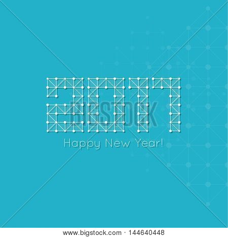 2017 Happy New Year. Abstract background with net structure. Square triangular pattern with lines and dots. techno design