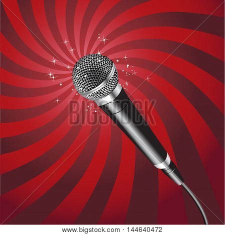 Microphone on a Rays Background vector 2