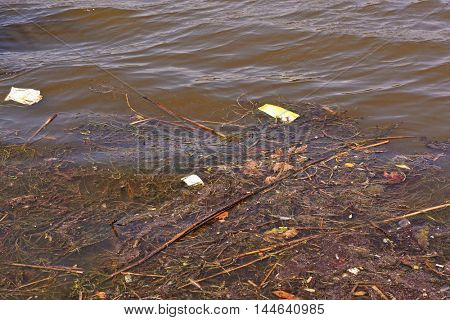 Water pollution with garbage