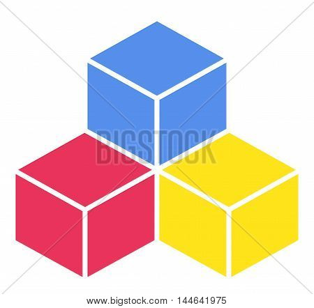 Colorful cubes. Vector illustration on white background