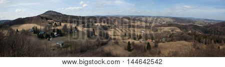 Panoramic view of Mount Jedlova (774 m) in the Lusatian Mountains pictured from Tolstejn Castle near Jiretin pod Jedlovou in North Bohemia, Czech Republic.