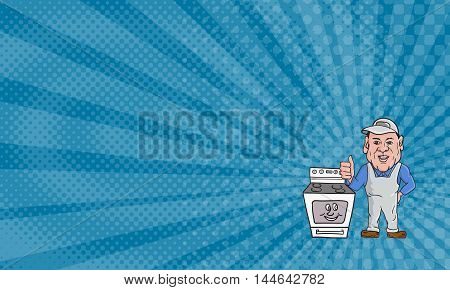 Business Card showing Illustration of an oven cleaner technician wearing hat and overalls thumbs up facing front with oven on the side set on isolated white background done in cartoon style.