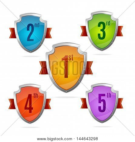Award Shield Set with Numbers for Design. Vector illustration