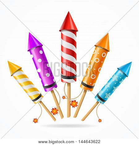 Fireworks Rocket Set of Different Color a Symbol of Holiday . Vector illustration