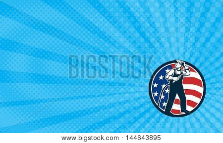 Business Card showing Illustration of welder worker standing with visor up looking to the side holding welding torch with tank viewed from front set inside circle with usa american stars and stripes flag in the background done in retro style.