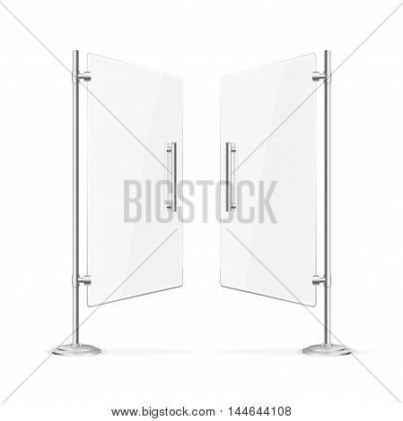 Transparent Glass Door Open with Steel Handles. Vector illustration