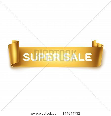 Super sale inscription on gold detailed curved ribbon isolated on white background. Curved paper banner.