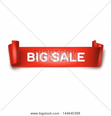 Big sale inscription on red detailed curved ribbon isolated on white background. Curved paper banner.