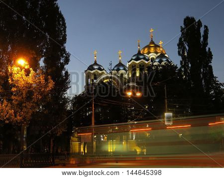 Evening view of Ukrainian Orthodox Cathedral  in Kiev